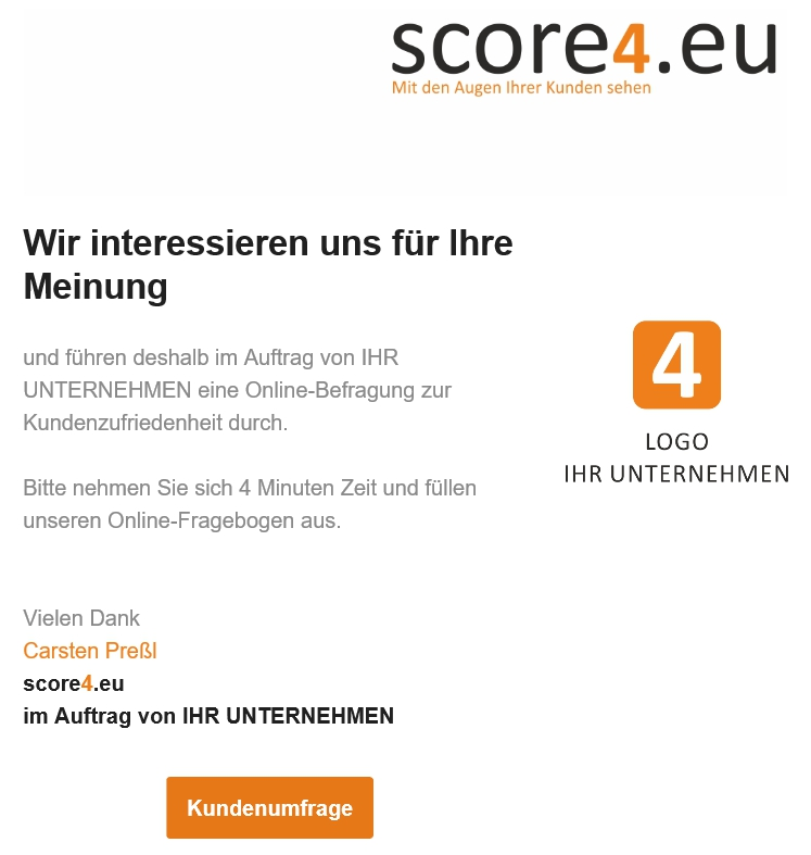 scoring - umfrage kundenzufriedenheit | score4.eu, Einladungen